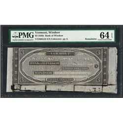 1830's $3 Bank of Windsor, Vermont Obsolete Note PMG Choice Uncirculated 64EPQ