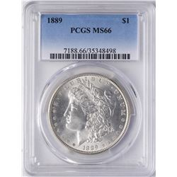 1889 $1 Morgan Silver Dollar Coin PCGS MS66