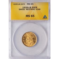 1935-LB Switzerland 20 Francs Gold Coin ANACS MS65