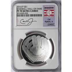 2014-P $1 Baseball Hall of Fame Coin NGC PF70 Ultra Cameo Cal Ripken Jr.