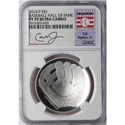 2014-P $1 Baseball Hall of Fame Coin NGC PF70 Ultra Cameo Cal Ripken Jr.