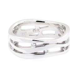 18KT White Gold 0.15 ctw Diamond Wave Ring