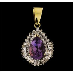 14KT Two Tone Gold 6.90 ctw Amethyst Pendant