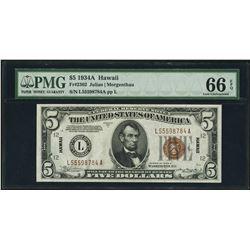 1934A $5 Hawaii Federal Reserve WWII Emergency Note PMG Gem Uncirculated 66EPQ