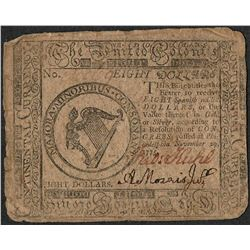 November 29, 1775 $8 Continental Currency Note