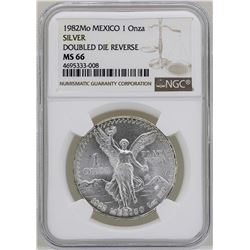 1982Mo Mexico Libertad Onza Doubled Die Reverse Silver Coin NGC MS66