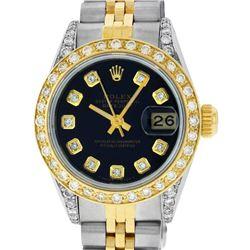 Rolex Ladies Two Tone 14K Black Diamond Lugs Datejust Wristwatch