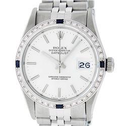 Rolex Men's Stainless Steel Silver Index Diamond & Sapphire 36MM Datejust Wristw