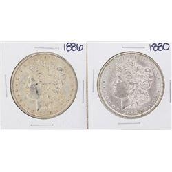 Lot of 1880 & 1886 $1 Morgan Silver Dollar Coins