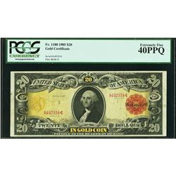1905 $20 Technicolor Gold Certificate Note Fr.1180 PCGS Extremely Fine 40PPQ