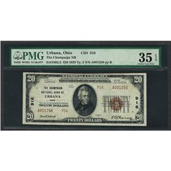 1929 $20 National Currency Note Urbana, Ohio CH# 916 PMG Very Fine 35EPQ