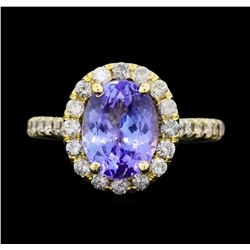 14KT Yellow Gold 3.50 ct. Tanzanite and Diamond Ring