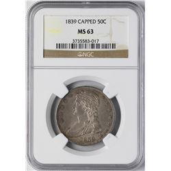 1839 Capped Bust Half Dollar Coin NGC MS63