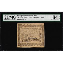 April 3, 1772 Pennsylvania 2 Shillings 6 Pence Colonial Note PMG Choice Unc. 64E