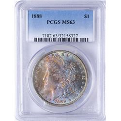 1888 $1 Morgan Silver Dollar Coin PCGS MS63 AMAZING TONING