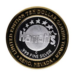 .999 Silver Harrah's Casino Reno, Nevada $10 Casino Limited Edition Gaming Token