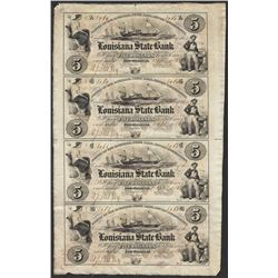 Uncut Sheet 1800's $5 Louisiana State Bank Obsolete Notes