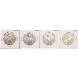 Lot of (4) 2016 $1 American Silver Eagle Coins