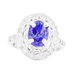 14KT White Gold Ladies 2.46 ctw Tanzanite and Diamond Ring