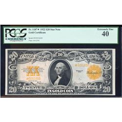 1922 $20 Gold Certificate STAR Note PCGS Extremely Fine 40