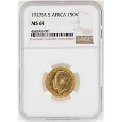 1927SA South Africa Sovereign Gold Coin NGC MS64