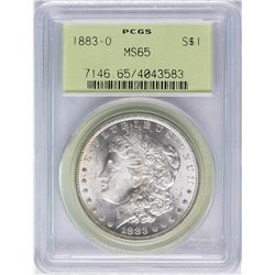 1883-O $1 Morgan Silver Dollar Coin PCGS MS65 Nice Toning Old Green Holder
