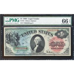 1869 $1 Rainbow Legal Tender Note Fr.18 PMG Gem Uncirculated 66EPQ