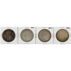 Lot of (4) 1891 $1 Morgan Silver Dollar Coins