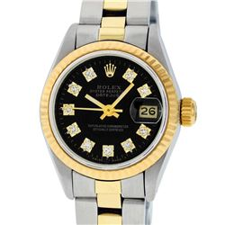 Rolex Ladies Two Tone 14K Black Diamond 26MM Datejust Wristwatch