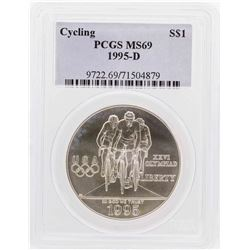 1995-D $1 Cycling Olympic Commemorative Silver Dollar Coin PCGS MS69