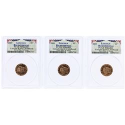 Lot of (3) 2009 Bicentennial Lincoln Cent Coins PCGS MS66RD First Day of Issue