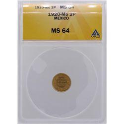 1920MO Mexico 2 Pesos Gold Coin ANACS MS64