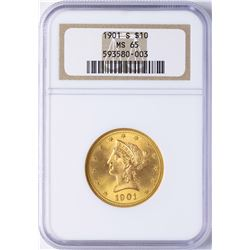 1901-S $10 Liberty Head Eagle Gold Coin NGC MS65
