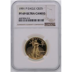 1991-P $25 American Gold Eagle Coin NGC PF69 Ultra Cameo