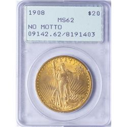 1908 $20 St. Gaudens Double Eagle Gold Coin PCGS MS62 Rattler