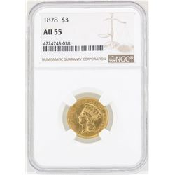 1878 $3 Indian Princess Head Gold Coin NGC AU55