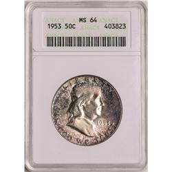 1953 Franklin Half Dollar Coin ANACS MS64 Nice Toning