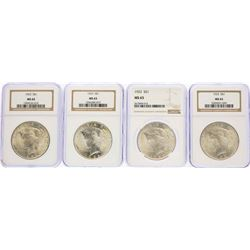 Lot of (4) 1923 $1 Peace Silver Dollar Coins NGC MS65
