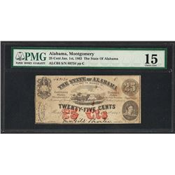 1863 25 Cent The State of Alabama Obsolete Note PMG Choice Fine 15