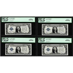 (4) Consecutive 1928B $1 Funnyback Silver Certificate Notes Fr.1602 PCGS Gem New