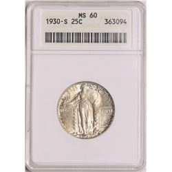 1930-S Standing Liberty Quarter Coin ANACS MS60