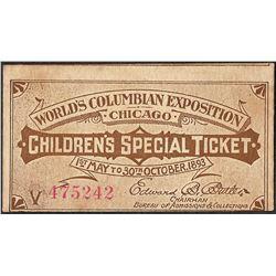 1893 World's Columbian Exposition Children's Special Ticket