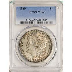 1886 $1 Morgan Silver Dollar Coin PCGS MS63 Great Toning on Reverse