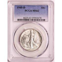 1945-D Walking Liberty Half Dollar Coin PCGS MS62