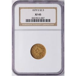 1879-S $2 1/2 Liberty Head Quarter Eagle Gold Coin NGC XF45