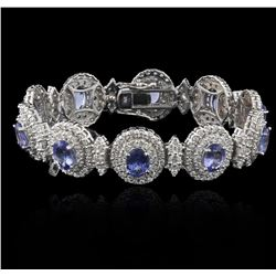 14KT White Gold 11.11 ctw Tanzanite and Diamond Bracelet