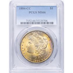 1884-CC $1 Morgan Silver Dollar Coin PCGS MS66 AMAZING TONING