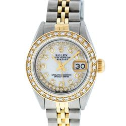 Rolex Ladies Two Tone 14K MOP String Diamond Datejust Wristwatch