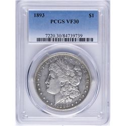 1893 $1 Morgan Silver Dollar Coin PCGS VF30