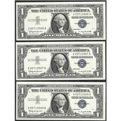 Lot of (3) Consecutive 1957B $1 Silver Certificate Notes